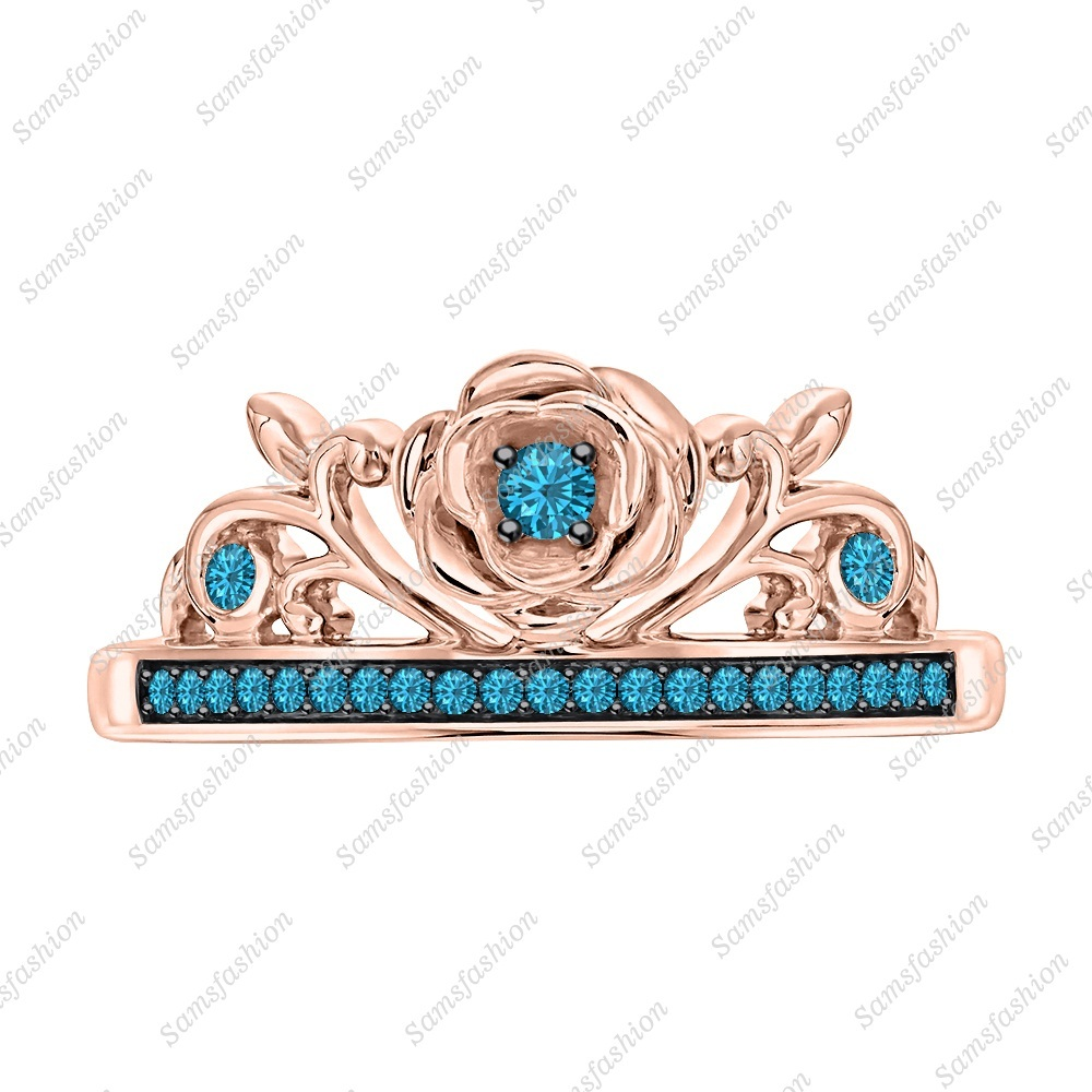 Primary image for Round Swiss Blue Toaz 14k Rose Gold Over 925 Silver Rose Flower Engagement Ring