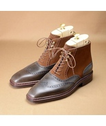 Wing Tip High Ankle Genuine Brown Color Leather Men Oxford Lace Up Vinta... - $149.90+