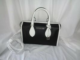 Michael Kors Lacey Small Duffle Bag Satchel Crossbody Black Optic White Leather - $121.28