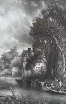 VALLEY FARM Stream Old House Cattle by Constable - SUPERB 1849 Antique P... - $19.80