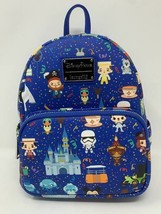 Disney Parks Icons Blue Loungefly Mini Backpack Castle Attractions WDW D... - $92.06