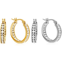 PIATELLA Set of 2 Stainless Steel & 18K Gold Plated 25mm In & Out hoop e... - $17.99