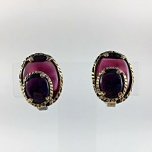 Trifari Cabochon Jelly Belly Earrings Blue Red Gold Tone Signed Vtg Woma... - $39.59