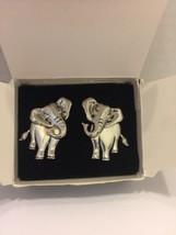 Avon Earrings Elephant Jungle Animal Pierced Vtg 1992 Box Silvertone Moving Head - $11.29