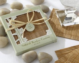 Natural Bamboo Eco-Friendly Coaster Favors Set of 12 Party Favors - $19.60