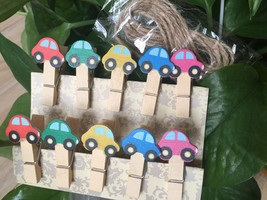 30pieces Car Decorated wooden clips,Paper Clips, Stationary,Children's F... - $7.20