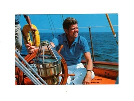 "PICTURE POSTCARD-PRESIDENT KENNEDY AT THE HELM OF THE  ""MANITOU"",1962  BK10 - $4.85"