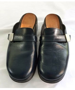 Clarks Rohde Black Clogs Leather Shoes Germany Size 9 M USA 39 EU - $39.99