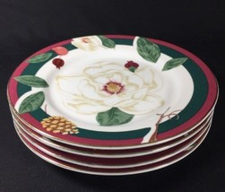 Tienshan Fine China Magnolia Round White Rose Lunch Dessert 2 Salad Plates  - $18.70