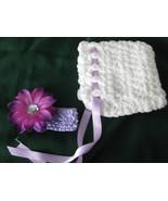 Newborn bonnet with removable flower and BONUS elastic headband - $8.00