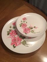 "4 Vintage melamine Rose 10"" Dinner plates 4 7"" ... - $19.75"