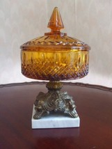 Amber Indiana Glass Covered Dish Ornate Metal Pedestal on Marble Base - $79.15