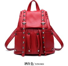 Women Leather Backpacks Students Large School Backpacks,Bookbags K249-1 image 8