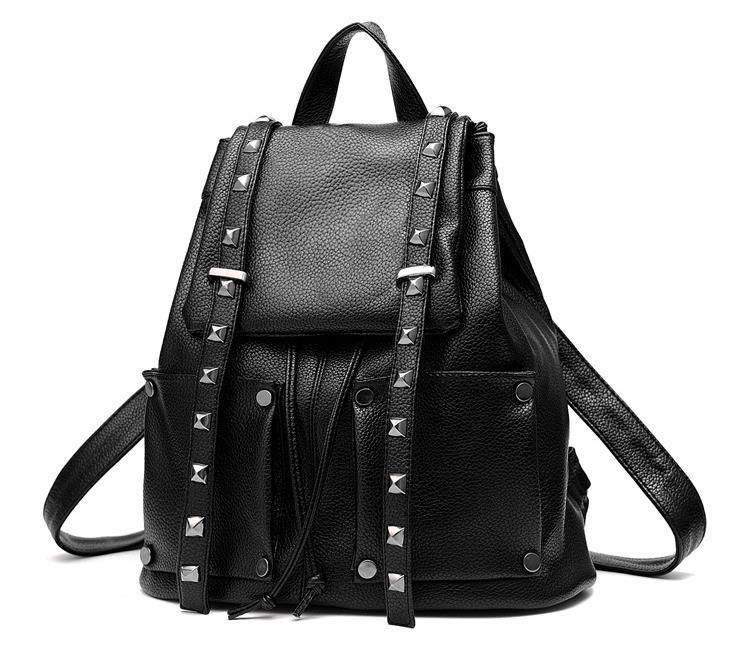 Women Leather Backpacks Students Large School Backpacks,Bookbags K249-1 image 11
