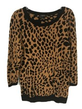Talbots Womens Petite Small PS Leopard Print Long Sleeve Knit Sweater - $15.83