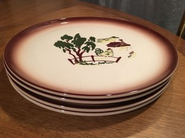 "4 Vintage Brock of California 10"" Luncheon Plat... - $29.65"