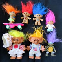 Vtg Troll Doll Lot of 7 Uneeda Wishnik Pizza Astronaut Ace Jewel Skateboard TMNT - $25.66