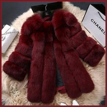 Long Full Pelt Burgundy Fox Faux Fur O Neck with Long Sleeves Luxury Fur Coat image 3