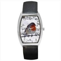 Pretty Europ EAN Robin In Snow Barrel Watch - Christmas Gift New! - $25.64