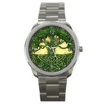 Mystic Celtic Tree Design Stainless Steel Sports Watch - $25.64
