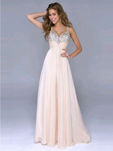 Straps Beaded Open Back Long Pale Pink Chiffon Prom Homecoming Gown Dres... - $115.00