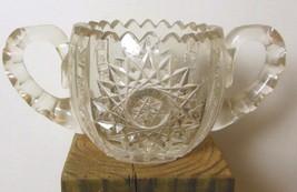 "Vintage Heavy Cut Crystal Sugar Bowl with 2 Handles 3 x 6"" - $19.00"