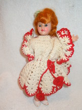 "Vintage 8"" Plastic Doll in Crocheted  Dress and Hat - $4.99"