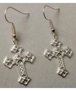 Christian Cross Drop Dangle Earrings Hook Ornat... - $12.95
