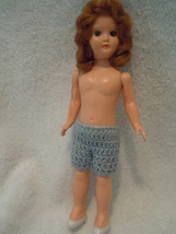 "Vintage 7"" Plastic Doll in Crocheted  Shorts - $3.99"