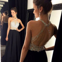 Sexy Long Black Open Back Prom Bridesmaid Party Evening Dresses Formal Gown - $127.90
