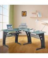 L-shaped Glass Computer Desk Black Office Home ... - $349.99