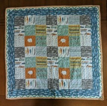 Quilted Baby Boy Blanket Quilt Fishing Theme Minky Blue Green Gray Orange MOMni - $53.20