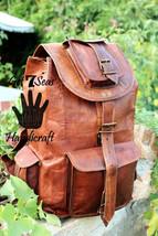 Real genuine men's leather backpack bag laptop briefcase satchel brown vintage image 2