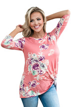 Pink Long Sleeve Knotted Floral Print Blouse  - $18.49
