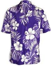 Big Hibiscus White Flower Men Hawaiian Shirt, PURPLE, LARGE - $39.95