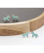 Dala HORSE ,Tiny Donkey enamel Stud Earrings in silver/ gold - $12.00