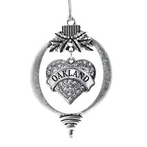 Inspired Silver Oakland Pave Heart Holiday Christmas Tree Ornament With Crystal  - $14.69