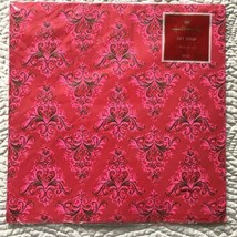 VTG Hallmark Christmas Gift Wrap Wrapping Paper Embossed Gold Pink Trees NOS - $25.73