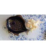 Blue Cobalt Vintage Fish Plate, Fish Shape Cobalt Blue Glass Luncheon Sa... - $56.95