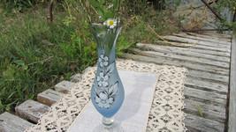Beautiful Blue Glasswith handmade ornament, Vintage Crystal Vase, Vase old - $38.95