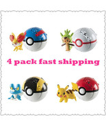 4 PACK Poke Ball 2 inch Action Figure with Poke... - $19.99