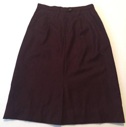Vintage Deep Plum Skirt Size 16 Long Classy Gathered Waist Lined 6 8 10