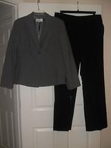 Le Suit New Womens Grey/Black Two-Button Jacket Pant Suit   14 - $39.99