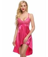 Ladies Sexy Satin Night Dress Lace Women Sleepwear Sleeveless V-Neck Hot... - $34.65