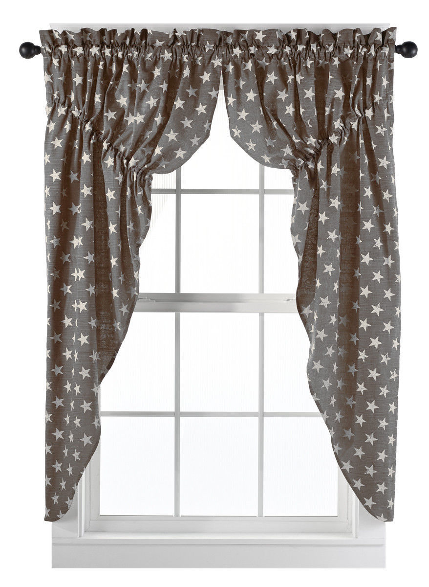 Primary image for Olivia's Heartland Stargazer Charcoal / Pino Wine fabric window PRAIRIE CURTAINS