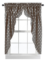 Olivia's Heartland Stargazer Charcoal / Pino Wine fabric window PRAIRIE CURTAINS - $62.95
