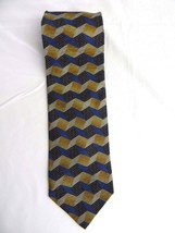 Salvatore Gregorio Necktie Hand Made In Italy Black&Blue Abstract Silk N... - $11.87