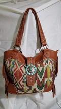 Montana west tan, fringe, leather turquoise, tribal design - $48.50