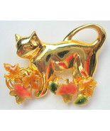 Cat Brooch with Maple Leaves Goldtone - $35.63