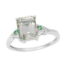 Green Amethyst Classic Gemstone 925 Sterling Silver Jewelry Ring Sz S SH... - €9,44 EUR
